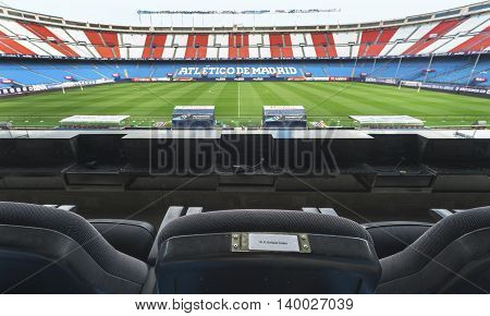 MADRID,SPAIN-MARCH 2016: The Club President seat at Vicente Calderon stadium -  the official playground of FC Atletico