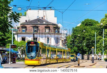 Basel, Switzerland - June 10, 2016: Stadler Tango tram in the city centre of Basel.