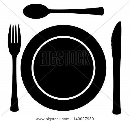 A 3piece cutlery set with plate over a white background