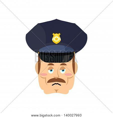 Sad Cop. Tragic Policeman. Bored Police Officer