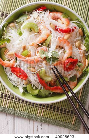 Spicy Thai Salad Yam Woon Sen With Seafood Close Up. Vertical Top View