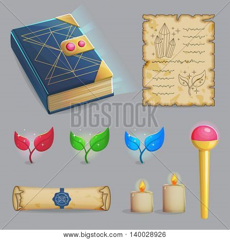 Collection of items to cast a magic spell. Wizard accessories for making magical tricks, ancient book of dead shadows, witch wand, shiny plants, candles and sealed manuscript. Game and app ui icons.
