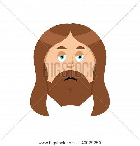 Sad Jesus. Sorrowful Christ. Bored Son Of God. Tired Of Religious Character.
