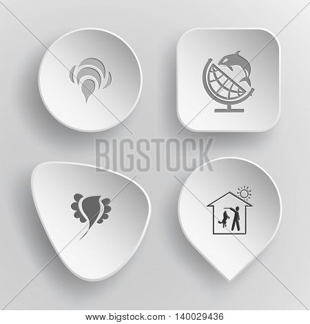 4 images: bee, globe and shamoo, bird, home dog. Animal set. White concave buttons on gray background. Vector icons.