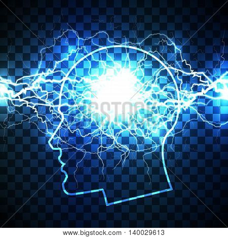 Power of human mind concept - head filled with storm of thoughts - realistic white lightning bolt created from intertwined white lightnings and surrounded with shining blue lights.