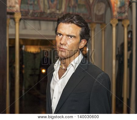 MADRID,SPAIN-MARCH 2016: Antonio Banderas wax figure  in Madame Tussauds  Museum