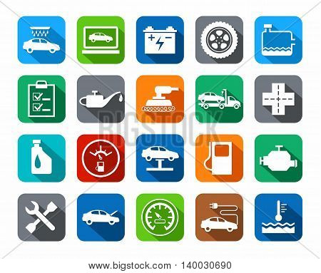 Repair and maintenance of vehicles, colored icons.  Vector flat icons for auto repair shop services. White image on a colored background with a shadow.