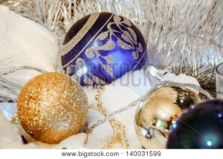 Background with Christmas decorations. Photos with limited depth of field.