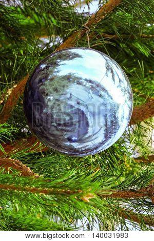 Blue decorative ball decoration Christmas street tree