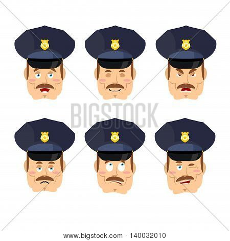 Emotions Policeman Icon. Set Expressions Avatar Cop. Good And Evil. Discouraged And Cheerful. Face C