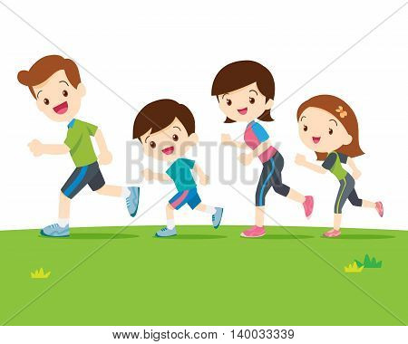 Cute family running together. Dad son mom daughter are jogging.