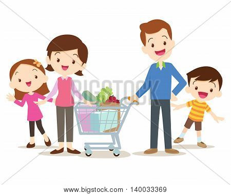 Cute Family Shopping At Market Together
