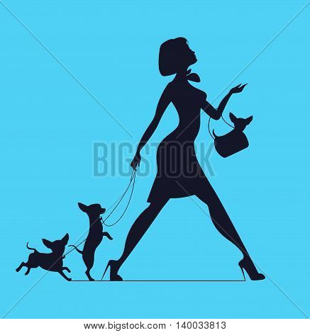 Vector silhouette of woman with dog. Young woman walking dogs. Fashionista with dogs