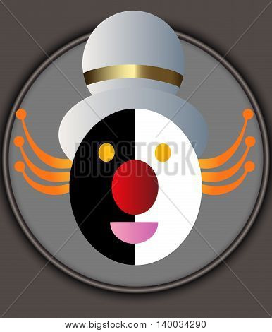 Abstract cartoon clown head icon in the gray circle background
