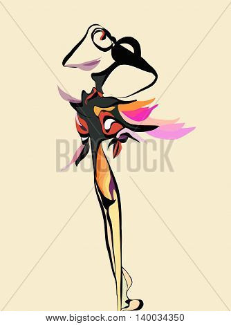 abstract image of a dancing female figure of colored lines on a light background in the form of a flame