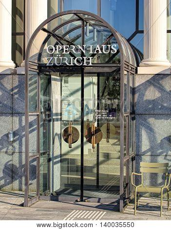Zurich, Switzerland - 20 July, 2016: entrance to the Zurich Opera House. Zurich Opera House has been the home of the Zurich Opera since 1891. It also houses the Bernhard-Theater Zurich and the Zurich Ballet.