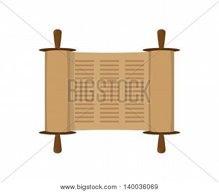 Ancient scroll book in expanded form, Torah scroll icon in flat style. Vector illustration
