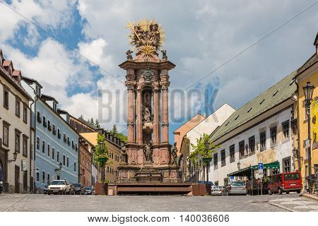 Banska Stiavnica Slovakia - May 25 2016: Sculpture of the Holy Trinity in the historic mining town of Banska Stiavnica