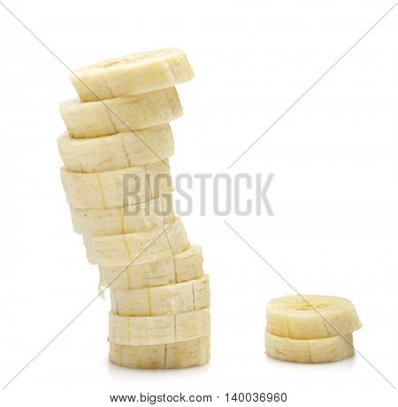 Riped and Sliced Bananas Isolated