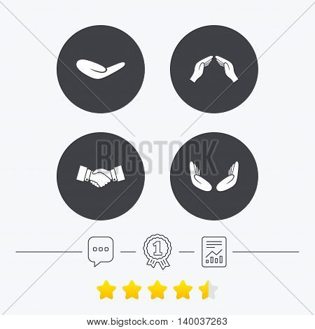 Hand icons. Handshake successful business symbol. Insurance protection sign. Human helping donation hand. Prayer meditation hands. Chat, award medal and report linear icons. Star vote ranking. Vector poster