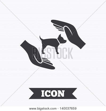 Protection of animals pets sign icon. Hands protect dog symbol. Shelter for dogs. Animals insurance. Graphic design element. Flat pets insurance symbol on white background. Vector