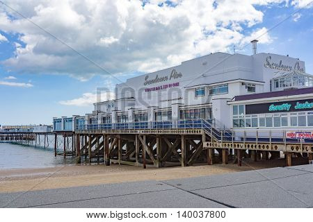 Sandown/UK. 14th July 2016. Sandown Pier is a Victorian Pier with arcades and amusements on the Isle of Wight.