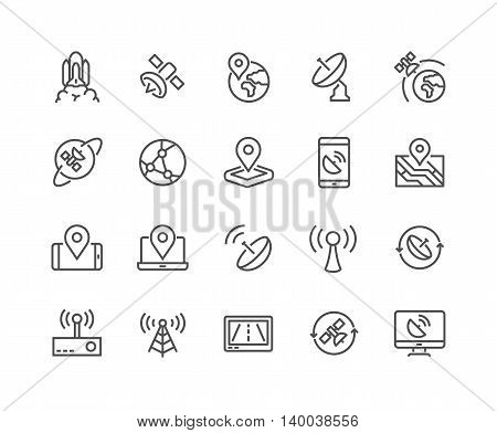 Simple Set of Satellite Related Vector Line Icons. Contains such Icons as Spacecraft Lunch, Antenna, Map, Dish and more. Editable Stroke. 48x48 Pixel Perfect.