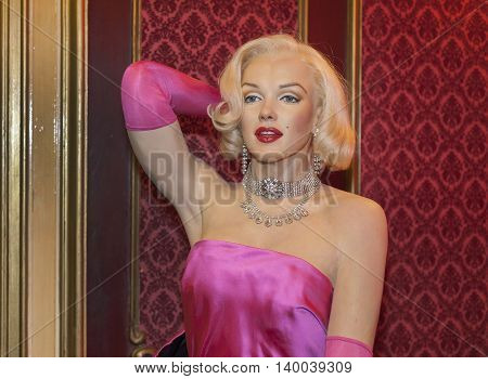MADRID,SPAIN-MARCH 2016: Marilyn Monroe wax figure  in Madame Tussauds Museum