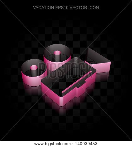 Tourism icon: Crimson 3d Camera made of paper tape on black background, transparent shadow, EPS 10 vector illustration.