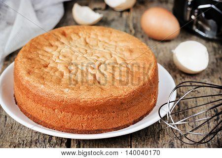 Italian sponge cake Pan di Spagna selective focus