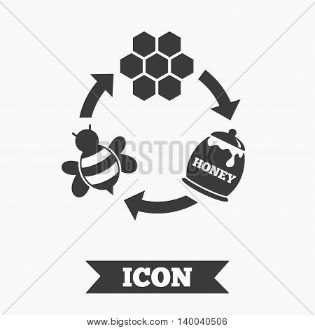Producing honey and beeswax sign icon. Honeycomb cells symbol. Honey in pot. Sweet natural food cycle in nature. Graphic design element. Flat honey symbol on white background. Vector