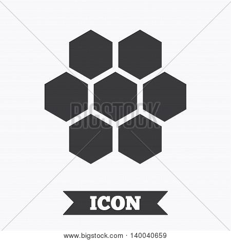 Honeycomb sign icon. Honey cells symbol. Sweet natural food. Graphic design element. Flat honeycomb symbol on white background. Vector