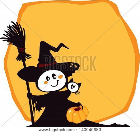 Halloween illustration with copy-space. Halloween characters in simple colors. This image is an easy to edit vector illustration. Image doesn't contain gradients transparency blending modes. EPS 10.