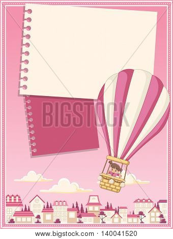 Card with cartoon baby girl inside a hot air balloon flying over a suburb neighborhood of a pink city.
