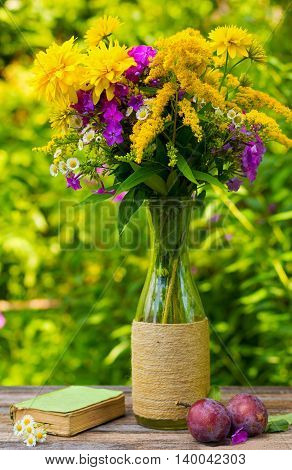a bouquet of flowers of goldenrod phlox chrysanthemums in a glass vase ripe plums and old book with daisies on the table on nature backgroun