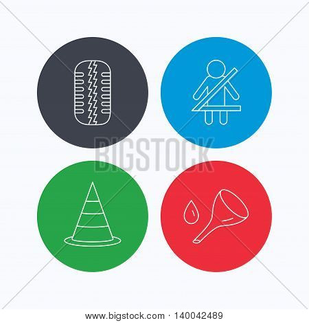 Tire tread, traffic cone and oil change icons. Fasten seat belt linear sign. Linear icons on colored buttons. Flat web symbols. Vector