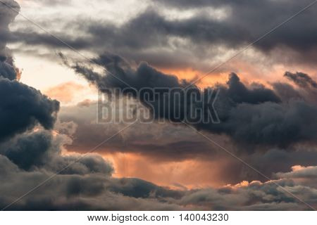 evening sky with dramatic clouds and afterglow