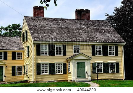 Concord Massachusetts - July 10 2013: The 1715 colonial home of Major John Buttrick in Minuteman National Historic Park