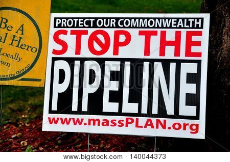 Deerfield Massachusetts - September 20 2014: A sign protesting a proposed gas pipeline stands in the front yard of a private home