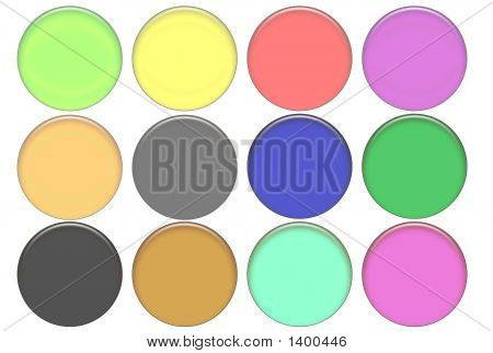 Set Round Color Glass Buttons