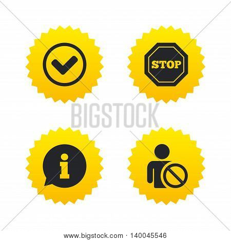 Information icons. Stop prohibition and user blacklist signs. Approved check mark symbol. Yellow stars labels with flat icons. Vector