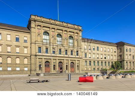 Zurich, Switzerland - 20 July, 2016: Swiss Federal Institute of Technology in Zurich building. Swiss Federal Institute of Technology in Zurich is a science, technology and engineering university.