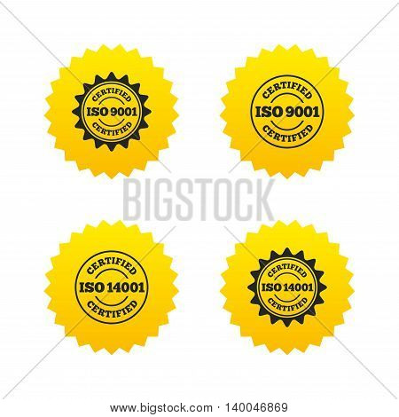 ISO 9001 and 14001 certified icons. Certification star stamps symbols. Quality standard signs. Yellow stars labels with flat icons. Vector