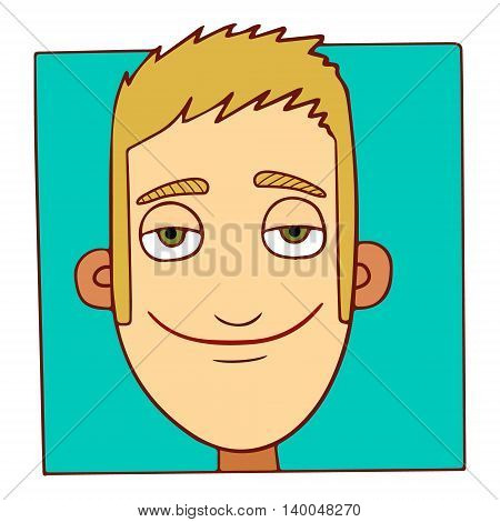 Smiling happy modern cartoon character face on green background