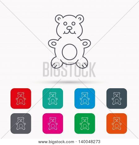 Teddy-bear icon. Baby toy sign. Plush animal symbol. Linear icons in squares on white background. Flat web symbols. Vector