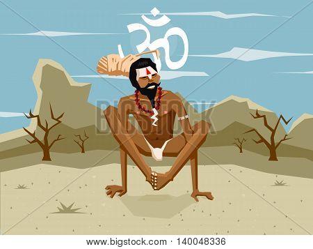 Yogi in asana on the moutain background