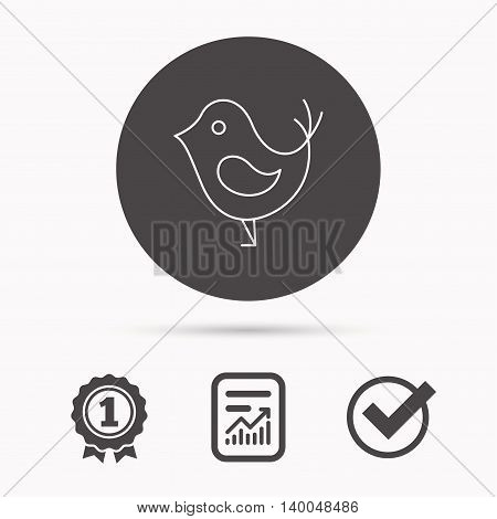Bird with beak icon. Cute small fowl symbol. Social media concept sign. Report document, winner award and tick. Round circle button with icon. Vector