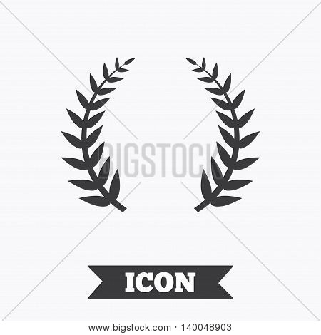 Laurel Wreath sign icon. Triumph symbol. Graphic design element. Flat laurel wreath symbol on white background. Vector