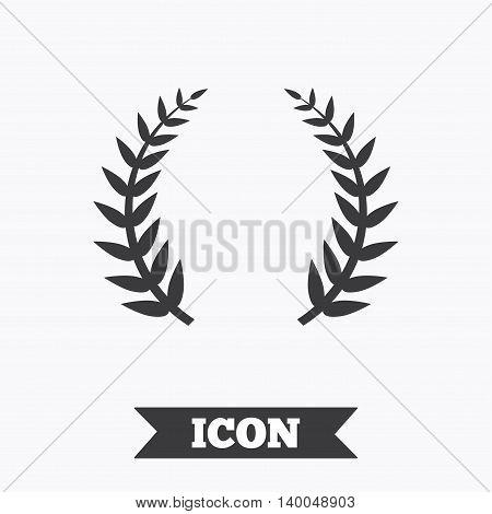 Laurel Wreath sign icon. Triumph symbol. Graphic design element. Flat laurel wreath symbol on white background. Vector