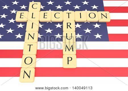 BERLIN GERMANY - JULY 26 2016: US election 2016: Letter tiles election clinton trump with US flag 3d illustration